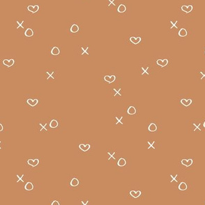xoxo love sweet hearts and kisses minimal valentine print for lovers wedding and nursery cinnamon brown neutral
