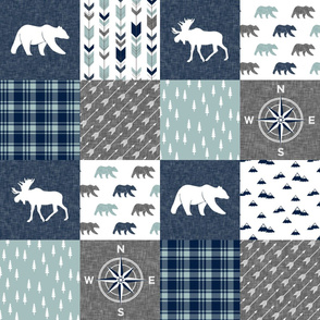 Happy Camper / compass - bear and moose - navy and dusty blue  C19BS