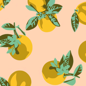 ZESTY pop art citrus - orange blossoms in mustard and blush