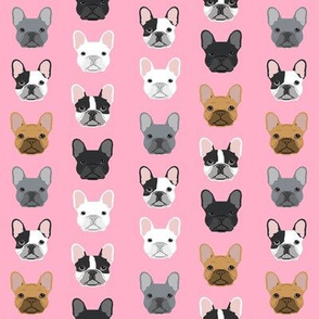 SMALL - frenchie dog pink faces cute dog head for girls fabric french bulldogs fabric girly design for french bulldog owners