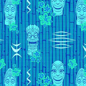 Bamboo Tiki Heads Aqua