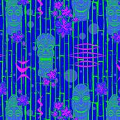 Bamboo Tiki Heads Blue Magenta
