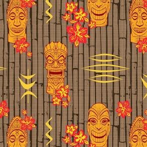 Bamboo Tiki Heads Orange Red