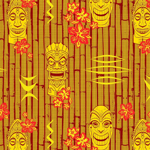 Bamboo Tiki Heads Red Gold