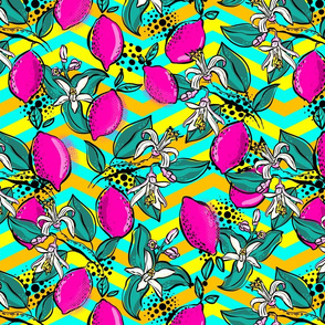 popart lemons pink and mint