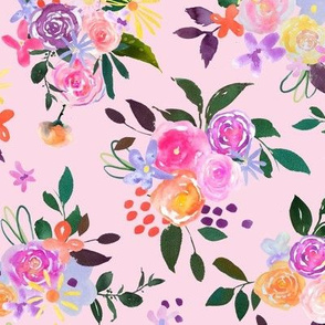 Prismatic Blooms Watercolor // Blush