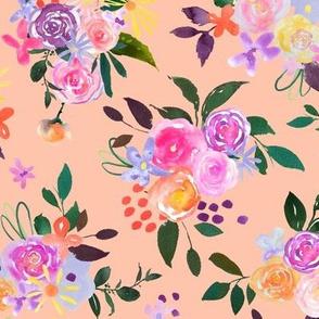 Prismatic Blooms Watercolor // Peachy