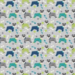 SMALL - schnauzers in jammies fabric cute dogs in pajamas pyjamas fabric - grey and blue