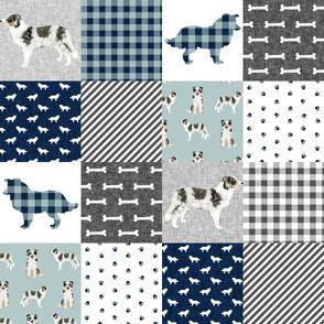 border collie cheater quilt - black, white tan, merle border collie, dog cheater quilt
