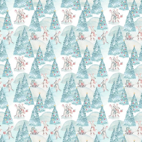 "6"" Winter Fun with little Mice - Hand drawn watercolor woodland pattern"