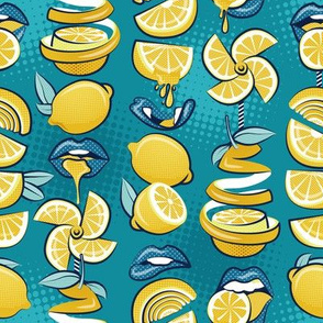 Small scale // Pop art citrus addiction // teal background blue lips yellow lemons and citrus fruits