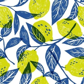 Lemons in yellow and blue
