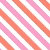 Bias Stripe in Coral Pink