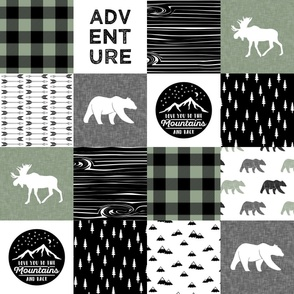 ADVENTURE - I love you to the mountains and back - Happy Camper || Wholecloth Quilt Top - Sage  C19BS