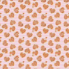 "(1/2"" scale) heart shaped pizza - valentines day - pink stripes C19BS"
