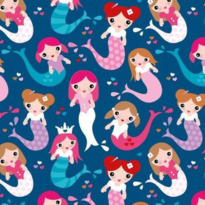 Little magic wonder dreams mermaids and tail deep see swim kids illustration classic blue