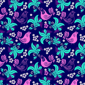 Folk Birds and Flowers Light Magenta, Teal and Dark Blue Floral Design