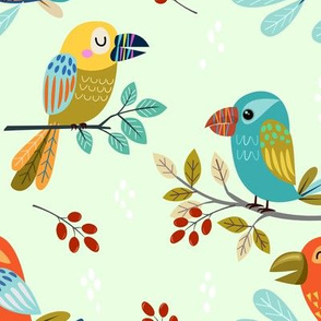 Fun Colorful Birds on Light Green Background