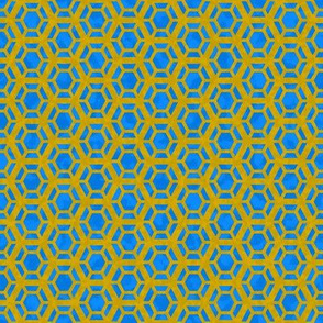 Golden Honeycomb on Blue