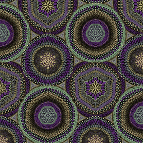 Kaleidoscope Medallions Celadon and Purple