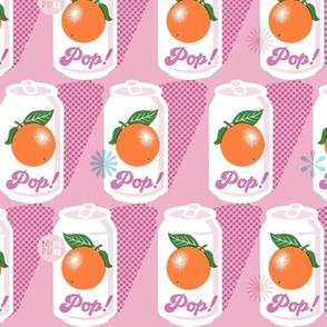 Pop Art Citrus* (Pink Cow) || fruit orange soda cans vintage packaging halftone dot screen star leaves aluminum