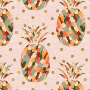 Painted Glitter Pineapples on Pink Linen with gold glitter dots - large scale