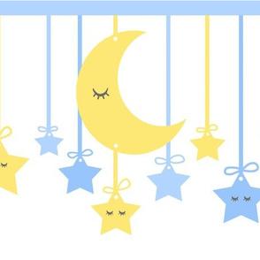 Sleepy Eyes Star Moon Yellow Blue Boy Nursery