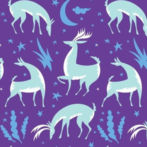 Winter Deer in Purple