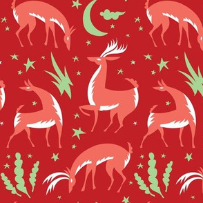 Winter Deer in Red