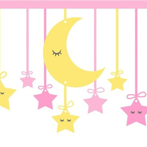 Sleepy Eyes Star Moon Yellow Pink Girl Nursery