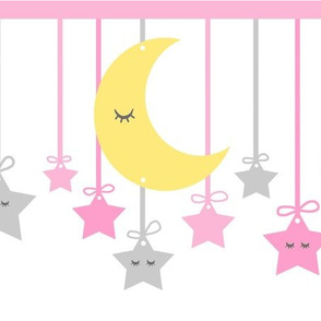 Sleepy Eyes Moon Stars Yellow Pink Gray Girl Nursery