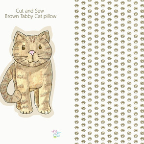 Cut and Sew Tabby Cat Pillow with Pawprint Pattern