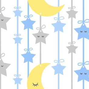 Hanging Sleepy Stars Moon Blue Gray