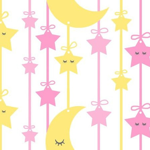 Hanging Sleepy Stars Moon Pink Yellow Baby Girl Nursery