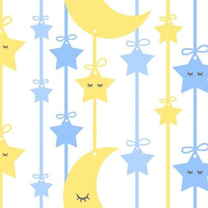 Hanging Sleepy Moon Stars Blue Yellow Baby Boy Nursery