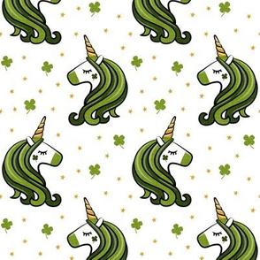 St Patricks Unicorn - st patty's day unicorns - dark green on white - LAD19