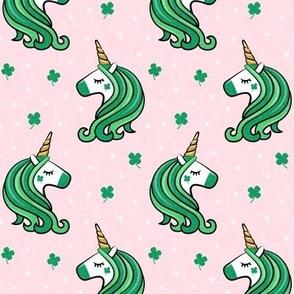 St Patricks Unicorn - st patty's day unicorns - pink - LAD19
