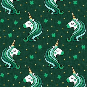 St Patricks Unicorn - st patty's day unicorns - dark green - LAD19