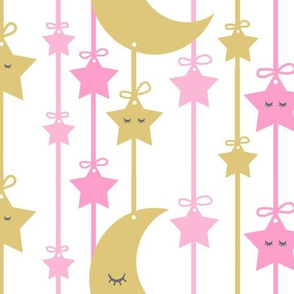 Hanging Sleepy Stars Moon Pink Gold Baby Girl Nursery