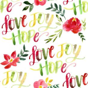 love joy hope lettered floral