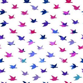 Abstract Blue Crane Birds Japanese