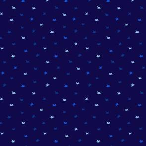 Dark Blue Crane Birds Japanese