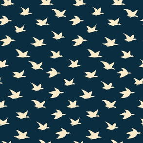Beige on Dark Blue Crane Birds Japanese