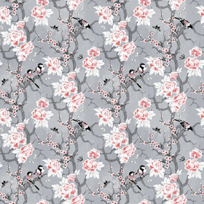 Chinoiserie birds grey small scale