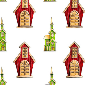 Childish Houses on White