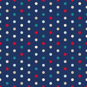 Polka Dots On Navy for Red Blue Teal Triangle Pattern