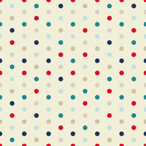 Polka Dots on Cream for Red Blue Teal Triangle Pattern