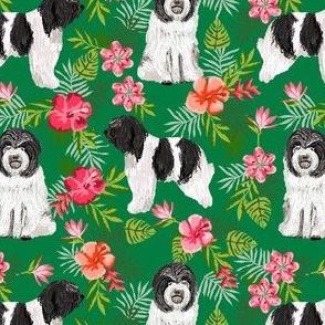 schapendoes hawaiian print - tropical dog print, hawaiian print fabric - green