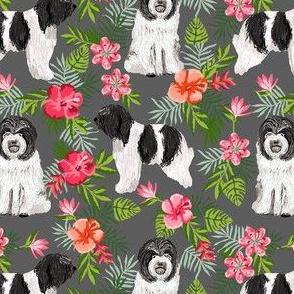 schapendoes hawaiian print - tropical dog print, hawaiian print fabric - charcoal