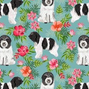 schapendoes hawaiian print - tropical dog print, hawaiian print fabric - blue